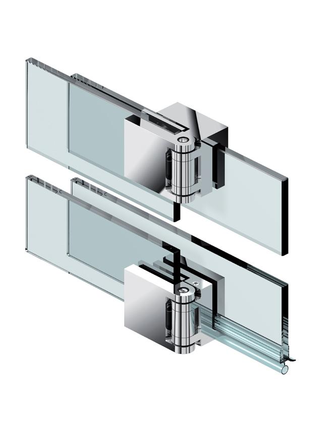 Pár FLUTURE pantů, sklo-sklo 180 °