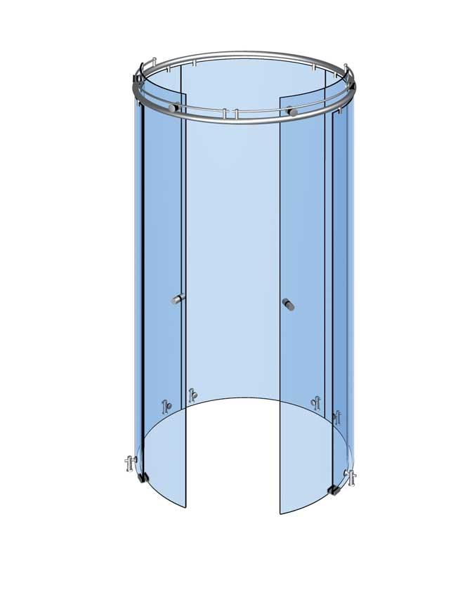 Kruhová sprcha s 2 dveřmi a 3 pevnými panely
