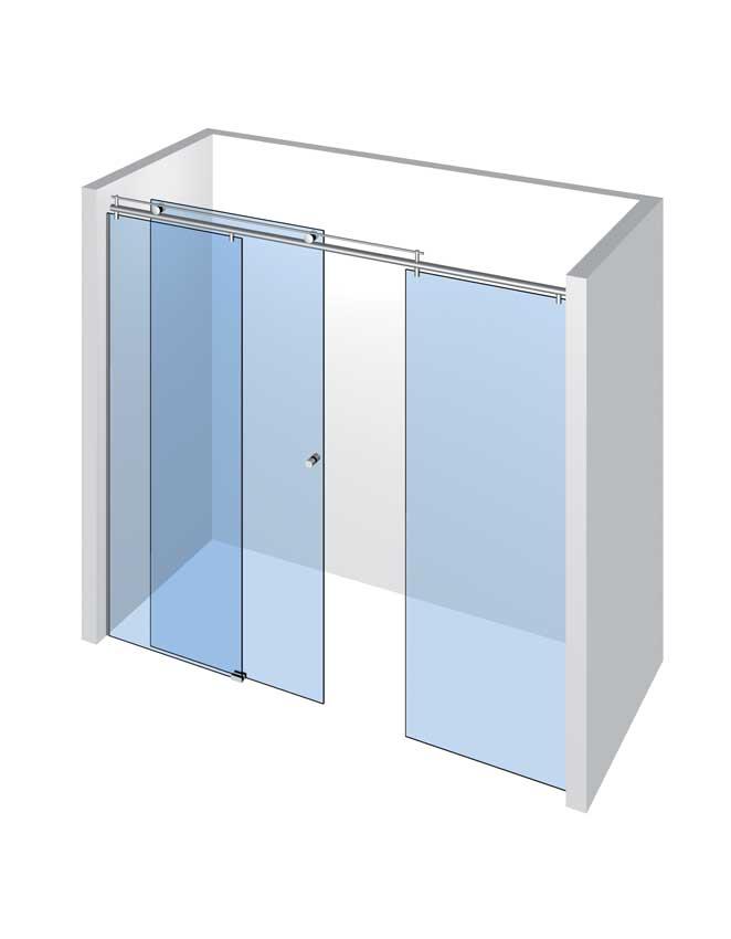 Sprcha do niky s 1 dveřmi a 2 pevnými panely