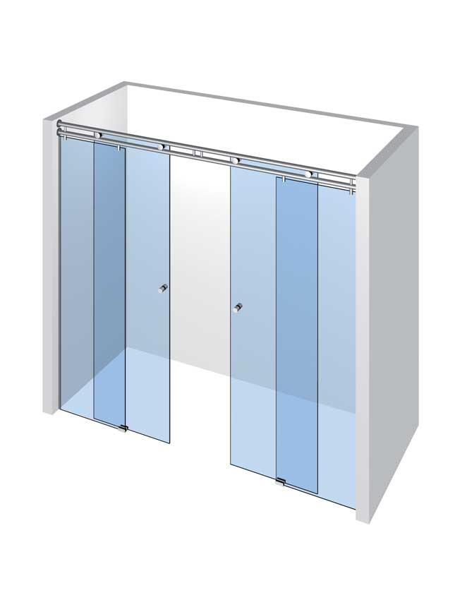 Sprcha do niky s 2 dveřmi a 2 pevnými panely