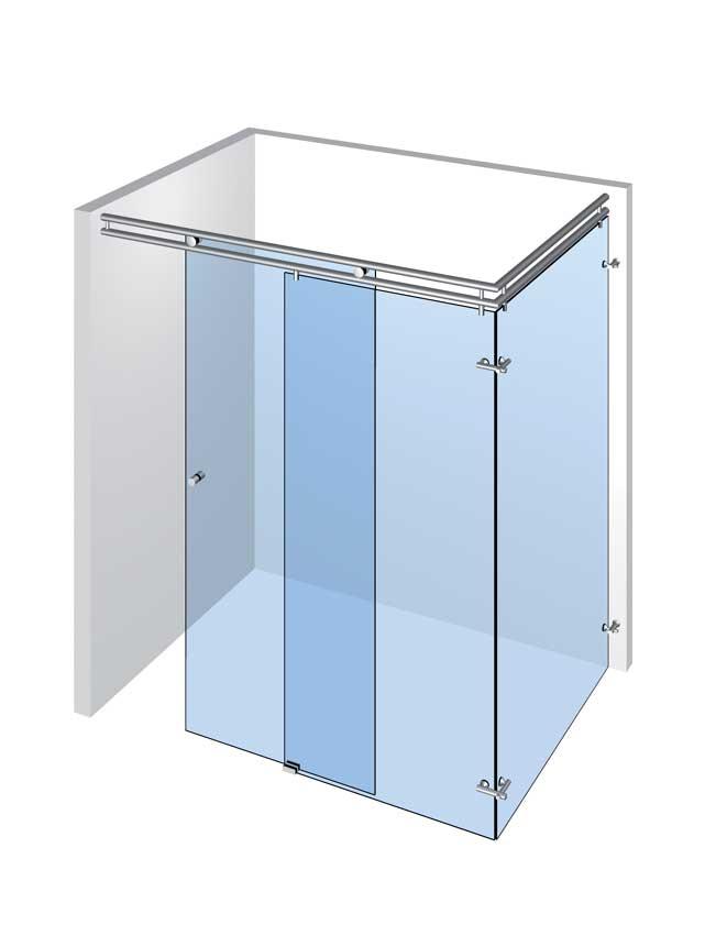 Speciální sprchy s 1 dveřmi a 2 pevnými panely