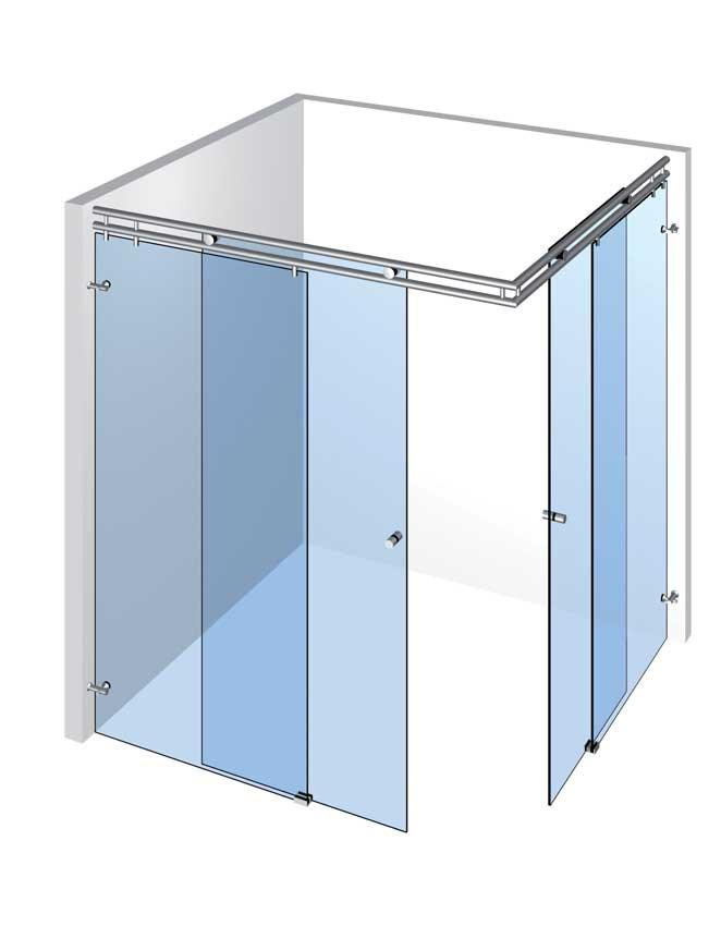 Speciální sprchy s 2 dveřmi a 2 pevnými panely