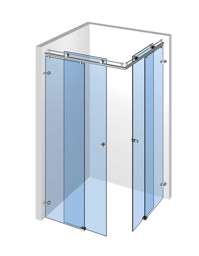 Rohová sprcha s 2 dverami a 2 pevnými panelmi