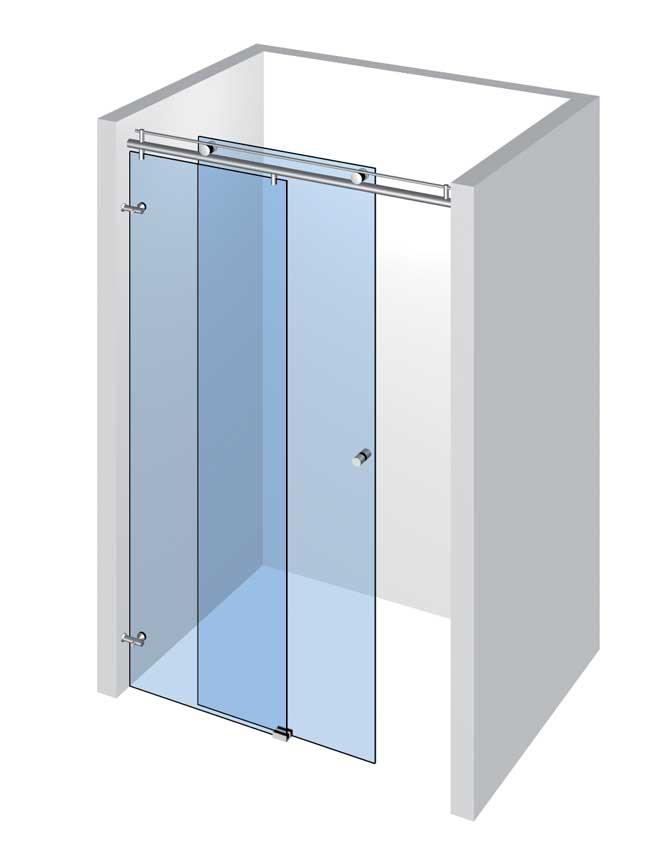 Sprcha do niky s 1 dverami a 1 pevným panelom