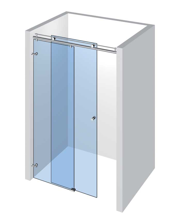 Sprcha do niky s 1 dveřmi a 1 pevným panelem