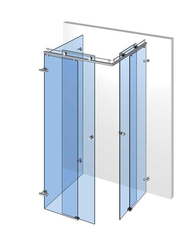 U-sprcha s 2 dveřmi a 3 pevnými panely