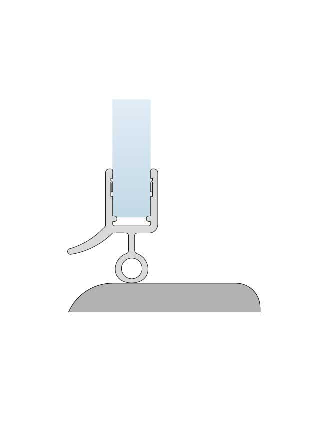 Tesnenie spodnej hrany skla