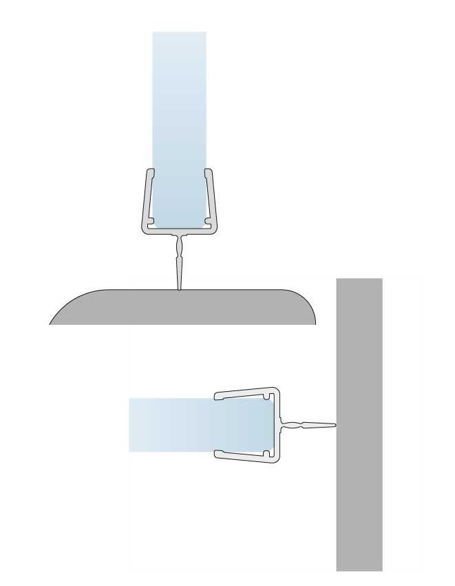 Těsnění spodní hrany skla