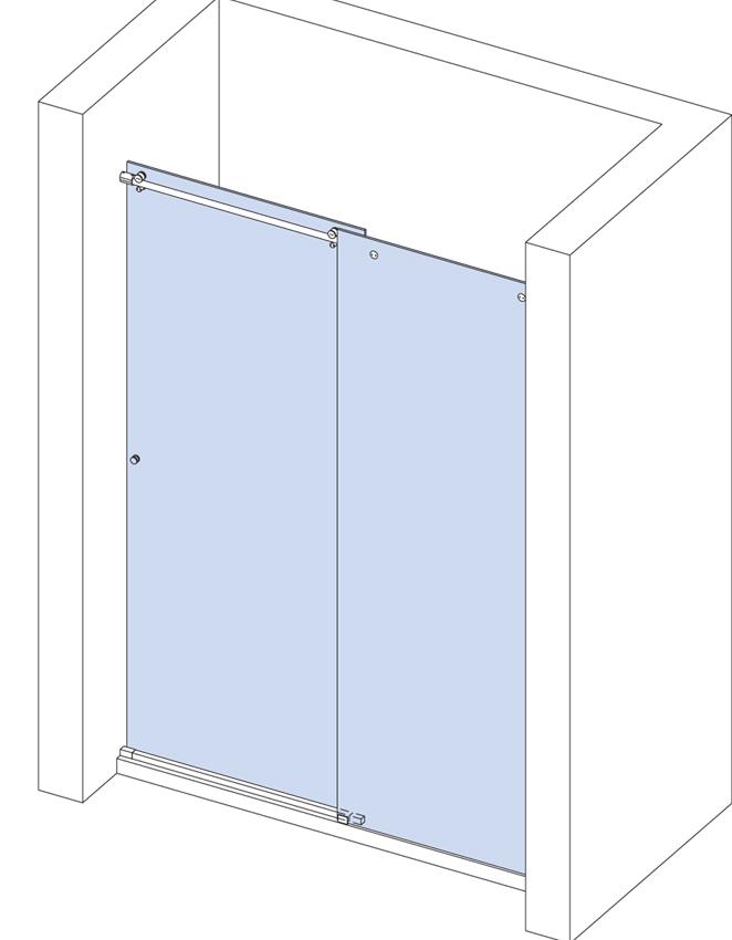 Sprchovací kút do niky s fixným panelom a otváravým krídlom