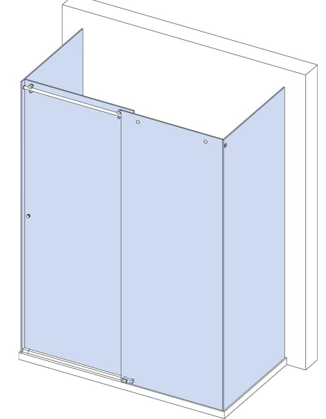 Sprchovací kút v tvare U s posuvným krídlom a 3  fixnými panelmi